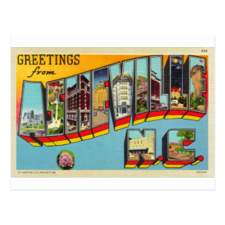 Vintage Retro Kitsch Asheville Big Letter Postcard