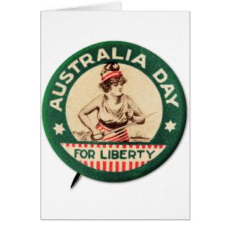 Vintage Retro Kitsch Australia Day Liberty Pin Greeting Card
