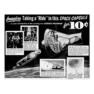 Vintage Retro Kitsch Bad Ad Space Capsule Ride 10¢ Postcard