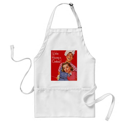 Vintage Retro Kitsch BBQ Barbecue Having a Cookout Apron