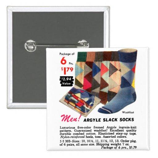 Vintage Retro Kitsch Catalog Men's Argyle socks Buttons