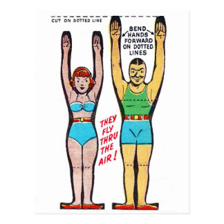 Vintage Retro Kitsch Cereal Box Trapeze Artists Postcard