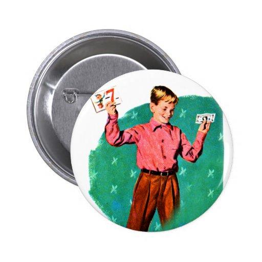Vintage Retro Kitsch Children Lucky Sevens Money Buttons
