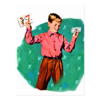 Vintage Retro Kitsch Children Lucky Sevens Money Post Cards