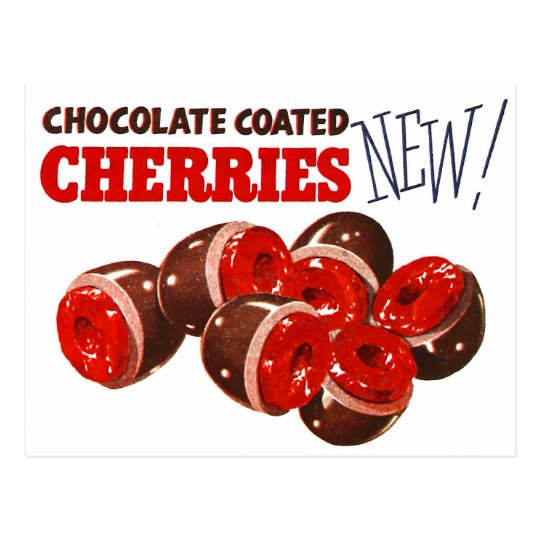 Vintage Retro Kitsch Chocolate Covered Cherries Postcard