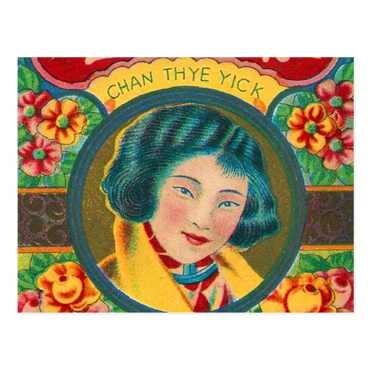 Vintage Retro Kitsch Firecracker Pretty Girl Brand Postcard