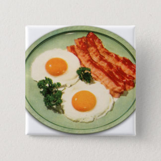 Vintage Retro Kitsch Food Bacon And Eggs 15 Cm Square Badge