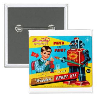 Vintage Retro Kitsch Kids Toy Wooden Robot Kit 15 Cm Square Badge