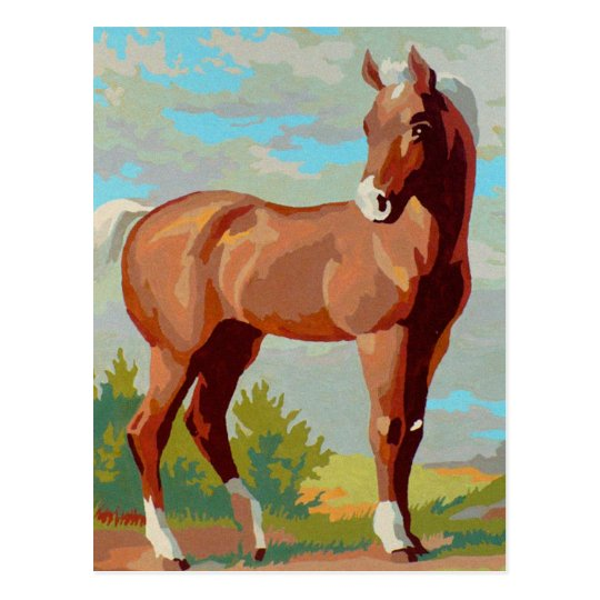 Vintage Retro Kitsch Paint By Numbers Horse Postcard