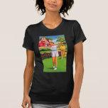 Vintage Retro Kitsch Pin Up Golfing Women Golfer T-shirts