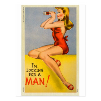 Vintage Retro Kitsch Pin Up Naughty Girl Postcard