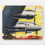 Vintage Retro Kitsch Prop Aeroplane 60s Airliner Mouse Pad