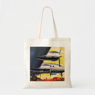 Vintage Retro Kitsch Prop Airplane 60s Airliner Canvas Bags