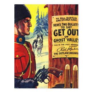 Vintage Retro Kitsch Pulp Magazine Outlaw Mountie Postcard