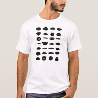 Vintage Retro Kitsch Sci Fi UFO Shapes Chart T-Shirt