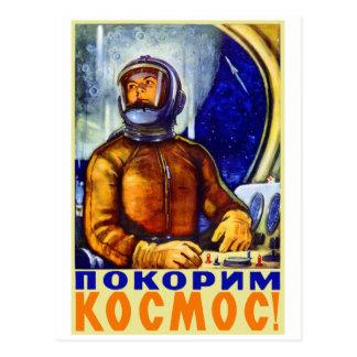 Vintage Retro Kitsch Soviet Cosmonaut Postcard