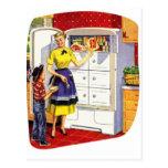 Vintage Retro Kitsch Suburbs Food Stuffed Fridge Post Card