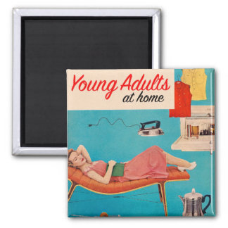Vintage Retro Kitsch Suburbs Young Adults at Home Square Magnet