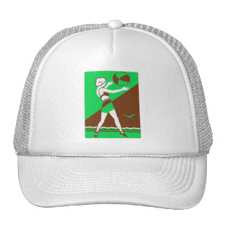 Vintage Retro Kitsch Surf Beach Ball Girl Trucker Hats