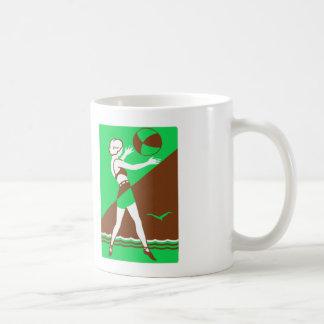 Vintage Retro Kitsch Surf Beach Ball Girl Coffee Mugs