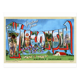 Vintage Retro Kitsch Travel Post Card Wisconsin
