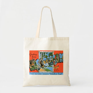 Vintage Retro Kitsch Travel Post Card Wisconsin Budget Tote Bag