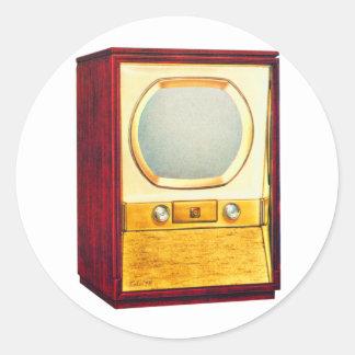 Vintage Retro Kitsch TV Television Set Round Sticker