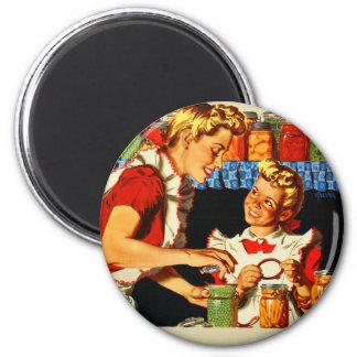 Vintage Retro Kitsch War Poster Canning Mom & Girl Refrigerator Magnets
