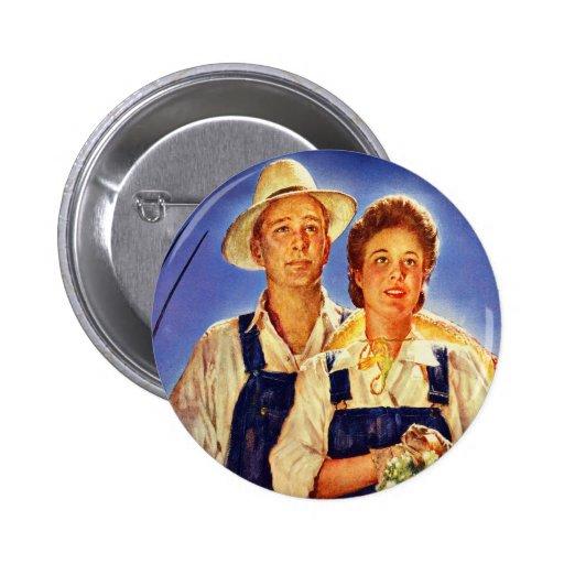 Vintage Retro Kitsch War Poster Mr & Mrs Farmers Buttons