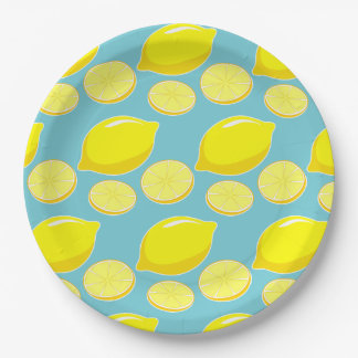 Vintage Retro Lemons Slices Pattern Yellow on Blue 9 Inch Paper Plate