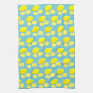 Vintage Retro Lemons Slices Pattern Yellow on Blue Kitchen Towels