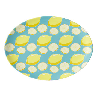 Vintage Retro Lemons Slices Pattern Yellow on Blue Porcelain Serving Platter