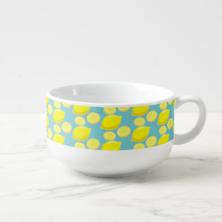 Vintage Retro Lemons Slices Pattern Yellow on Blue Soup Mug