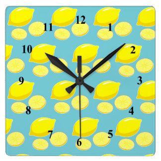 Vintage Retro Lemons Slices Pattern Yellow on Blue Square Wall Clock