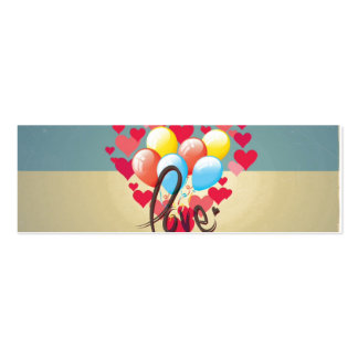 Vintage Retro Love Hearts Funny Valentine Balloons Business Card Templates