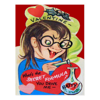 Vintage Retro Mad Scientist Valentine Card