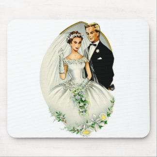 Vintage Retro Marriage 50s Just Married Couple Mousepads