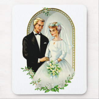Vintage Retro Marriage 60s Just Married Couple Mouse Pad