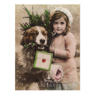 Vintage retro merry christmas holiday postcard