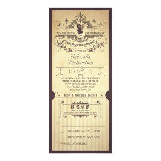 Vintage retro movie tickets THE QUINCEAÑERO invite
