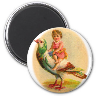 Vintage Retro Odd Kitsch Little Girl Riding a Bird Magnet