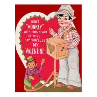 Vintage Retro Organ Grinder Valentine Card