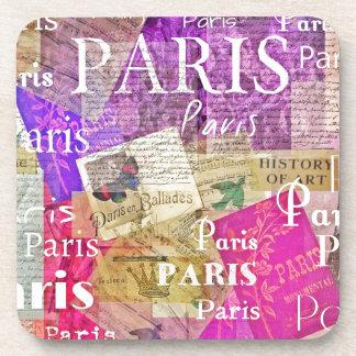 Vintage Retro Paris Eiffel Tower ART Beverage Coasters