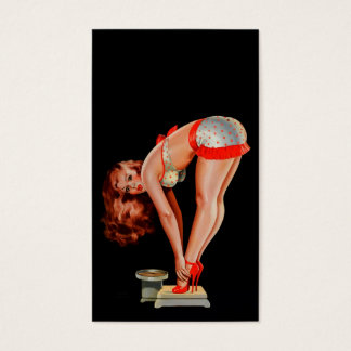 Vintage Retro Peter Driben Pinup Girl on Scale Business Card