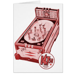 Vintage Retro Pinball Machine Greeting Card