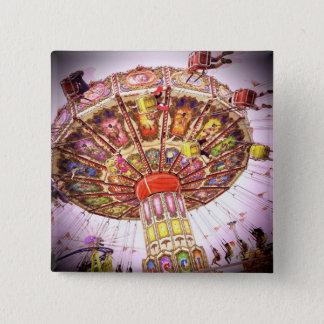 Vintage retro pink sky carnival swing ride photo 15 cm square badge