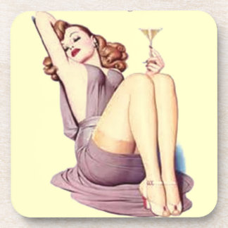 vintage retro Pinup Girl Martini Lover Coaster set
