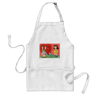 Vintage Retro Playing Outdoors Valentine Card Apron