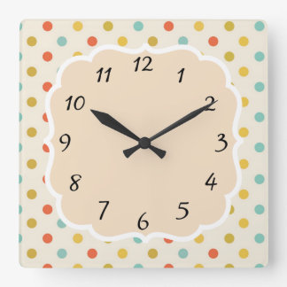 Vintage Retro Polka Dot Square Wall Clock