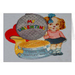 Vintage Retro Puppy With Waffle Iron Valentine Car Greeting Card
